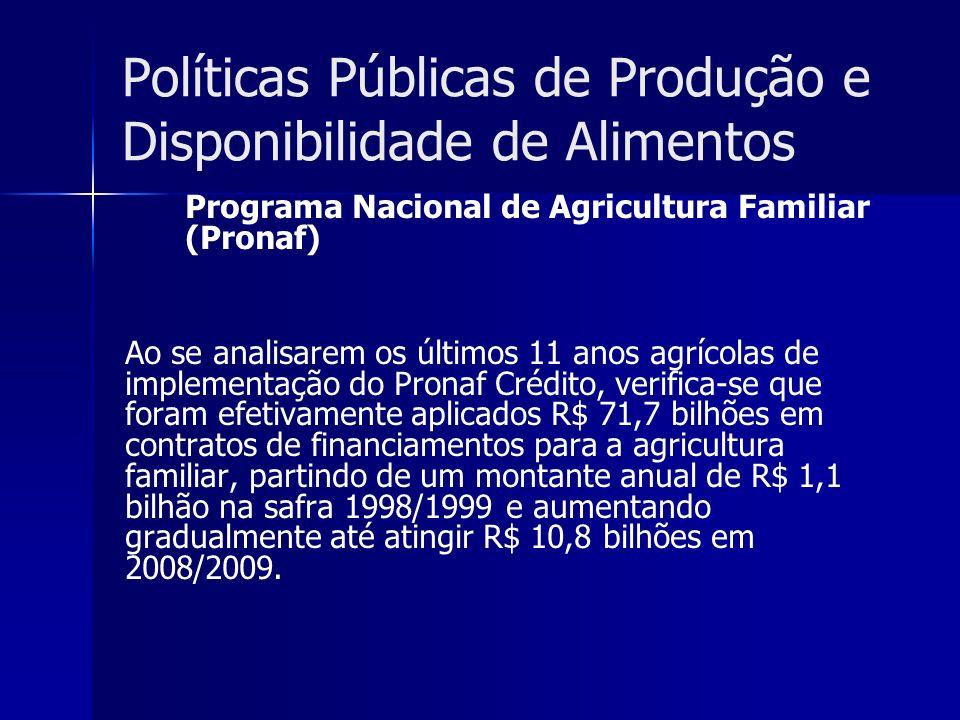 Políticas Públicas de Produção e Disponibilidade de Alimentos