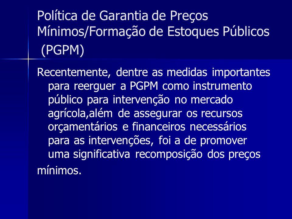 Política de Garantia de Preços Mínimos/Formação de Estoques Públicos (PGPM)