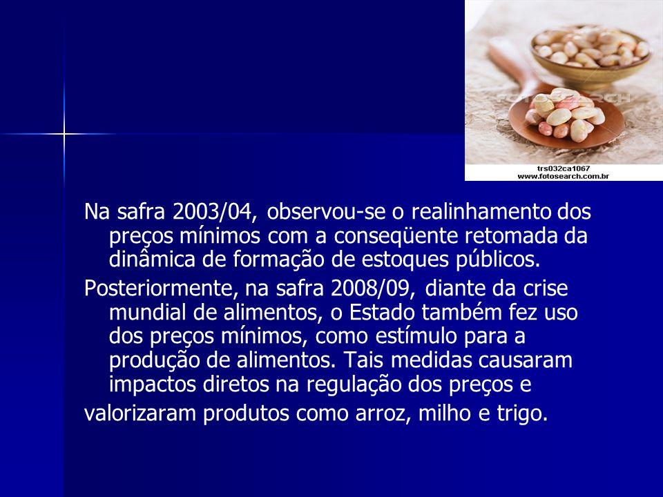 Na safra 2003/04, observou-se o realinhamento dos preços mínimos com a conseqüente retomada da dinâmica de formação de estoques públicos.