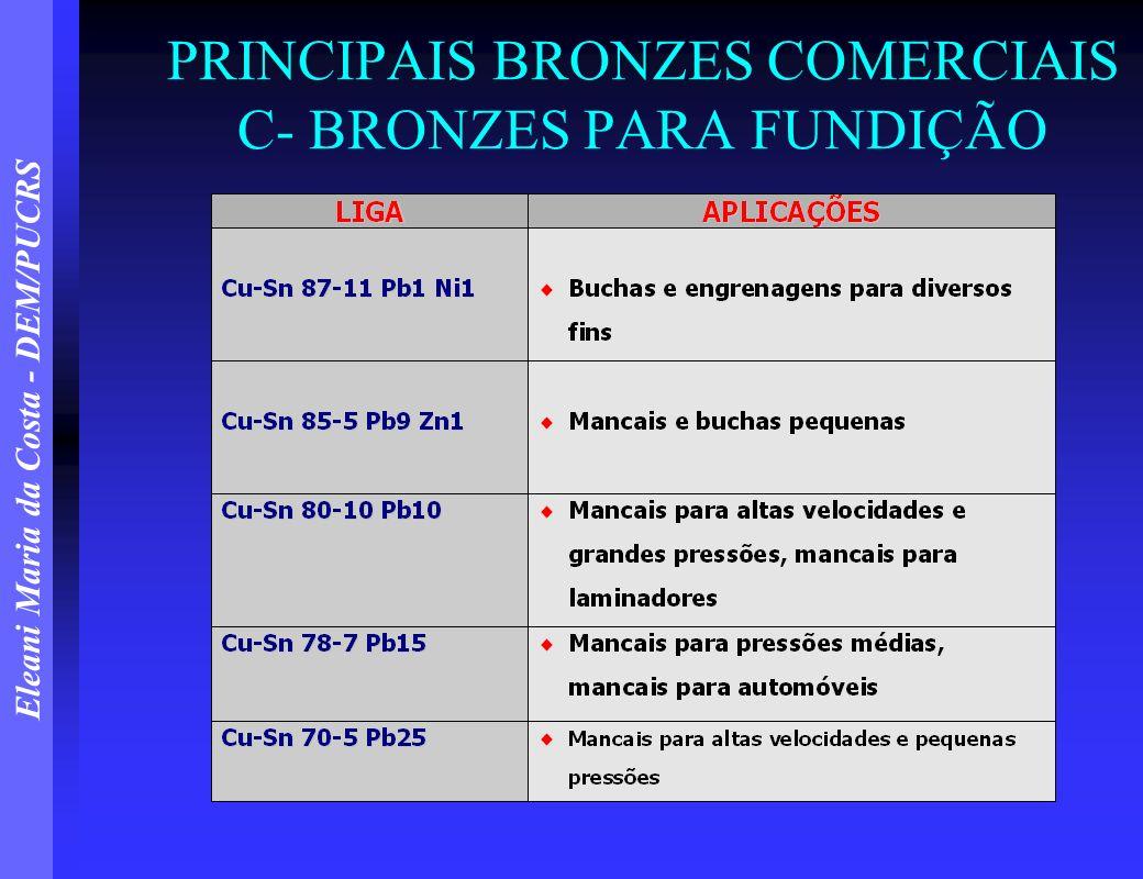 PRINCIPAIS BRONZES COMERCIAIS C- BRONZES PARA FUNDIÇÃO