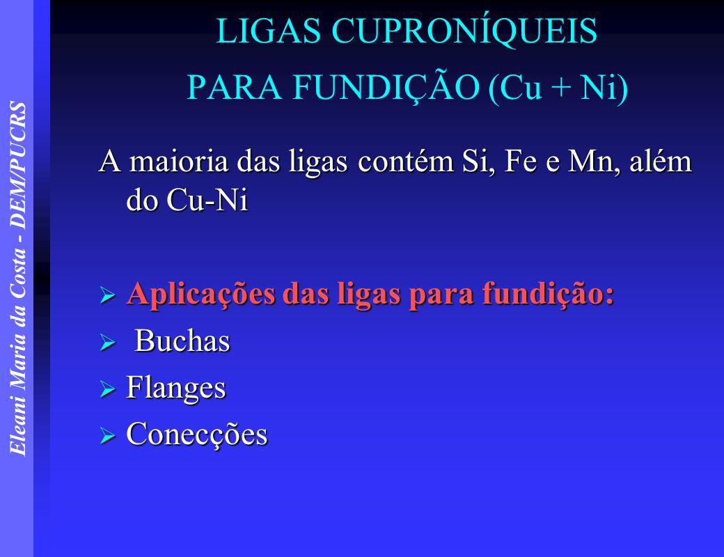 LIGAS CUPRONÍQUEIS PARA FUNDIÇÃO (Cu + Ni)