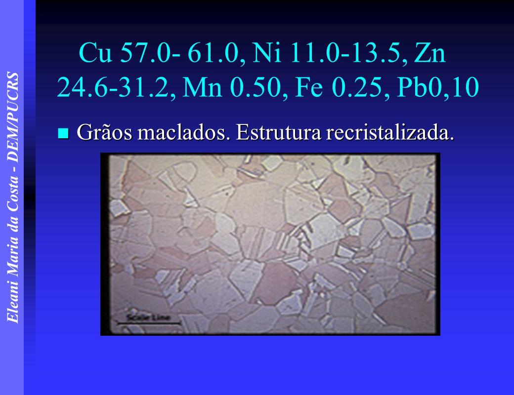 Cu 57.0- 61.0, Ni 11.0-13.5, Zn 24.6-31.2, Mn 0.50, Fe 0.25, Pb0,10 Grãos maclados.
