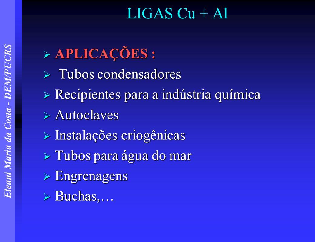 LIGAS Cu + Al APLICAÇÕES : Tubos condensadores