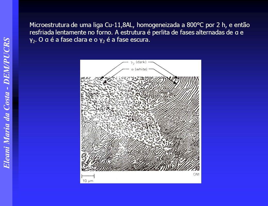 Microestrutura de uma liga Cu-11,8AL, homogeneizada a 800°C por 2 h, e então resfriada lentamente no forno.