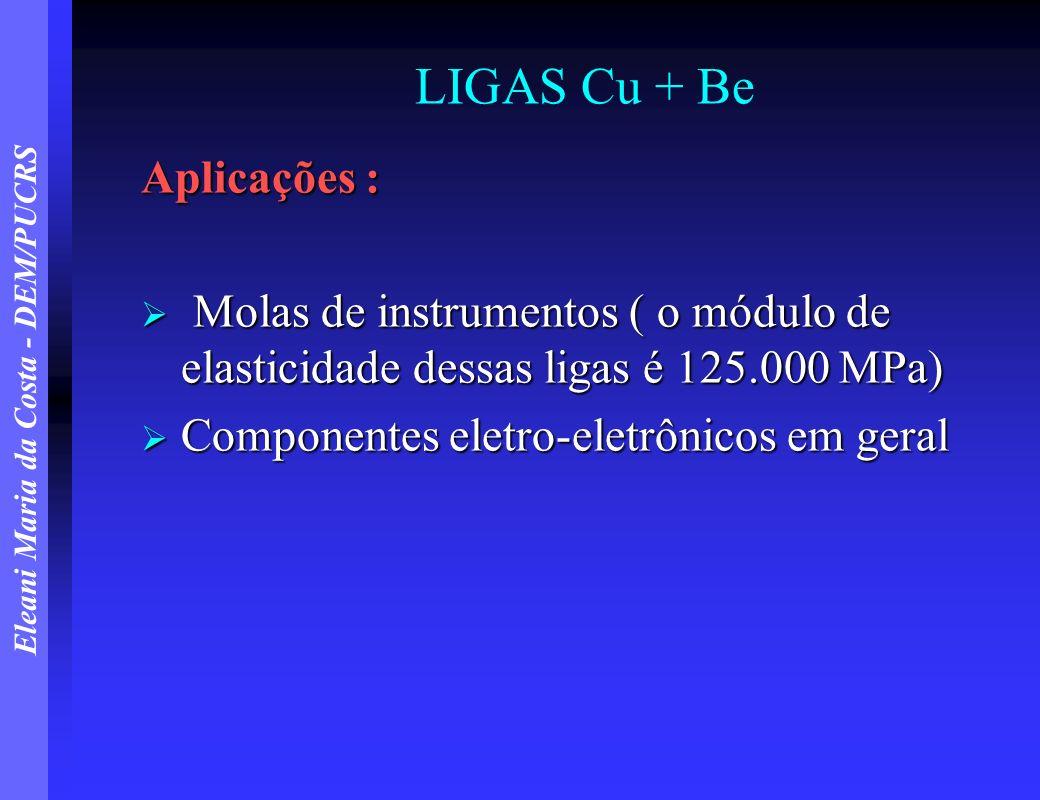 LIGAS Cu + Be Aplicações :