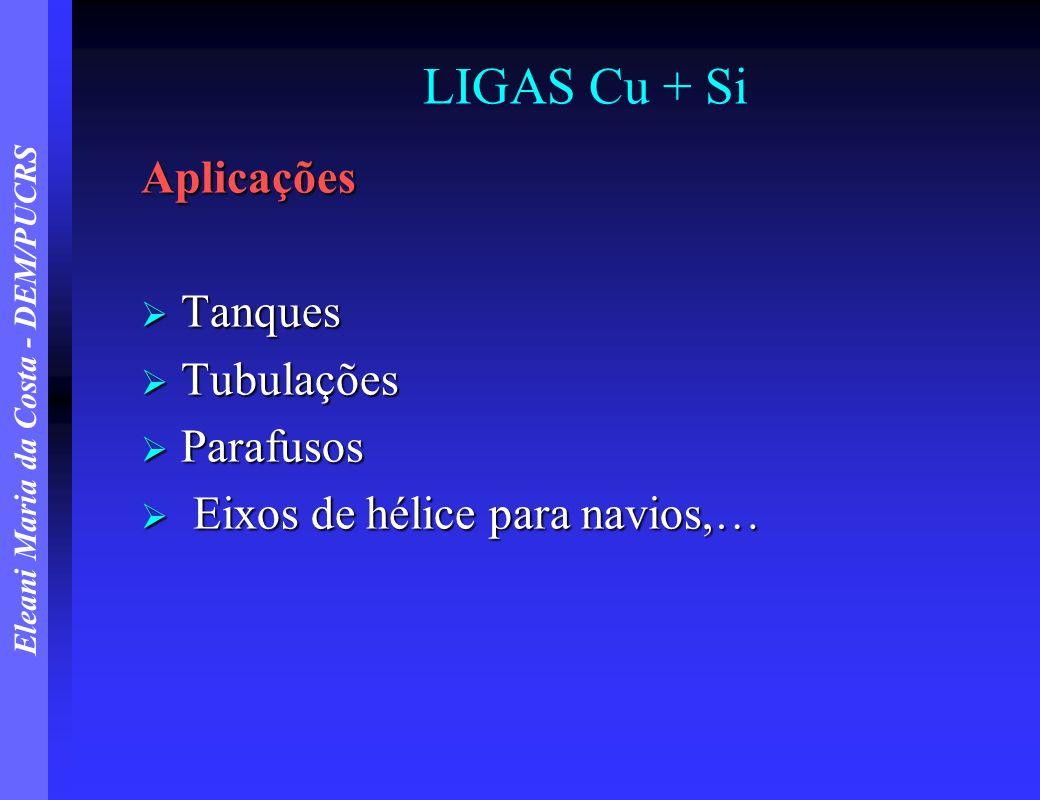 LIGAS Cu + Si Aplicações Tanques Tubulações Parafusos