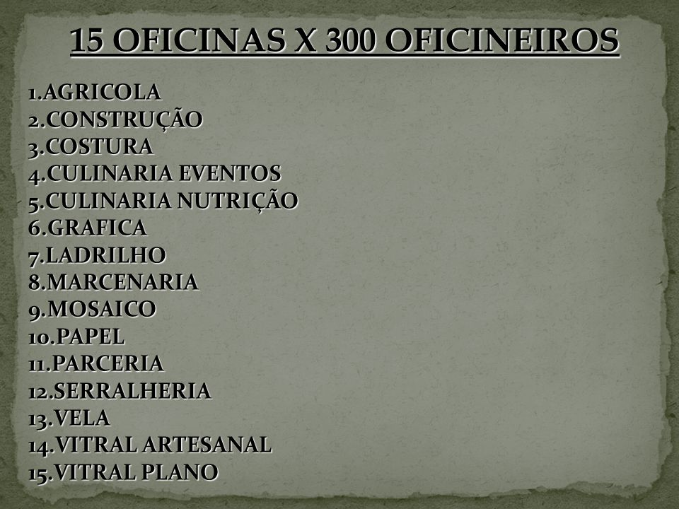 15 OFICINAS X 300 OFICINEIROS
