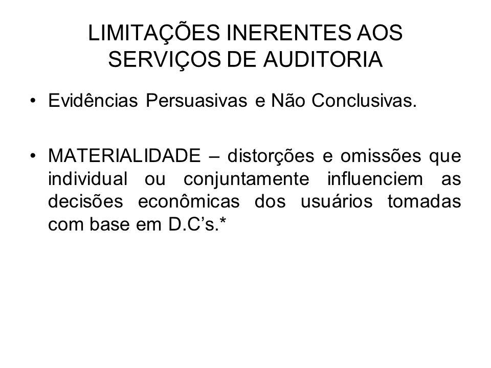 LIMITAÇÕES INERENTES AOS SERVIÇOS DE AUDITORIA