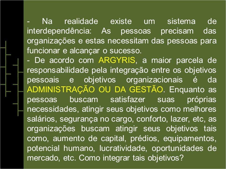 - Na realidade existe um sistema de interdependência: As pessoas precisam das organizações e estas necessitam das pessoas para funcionar e alcançar o sucesso.