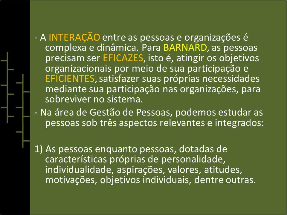 - A INTERAÇÃO entre as pessoas e organizações é complexa e dinâmica