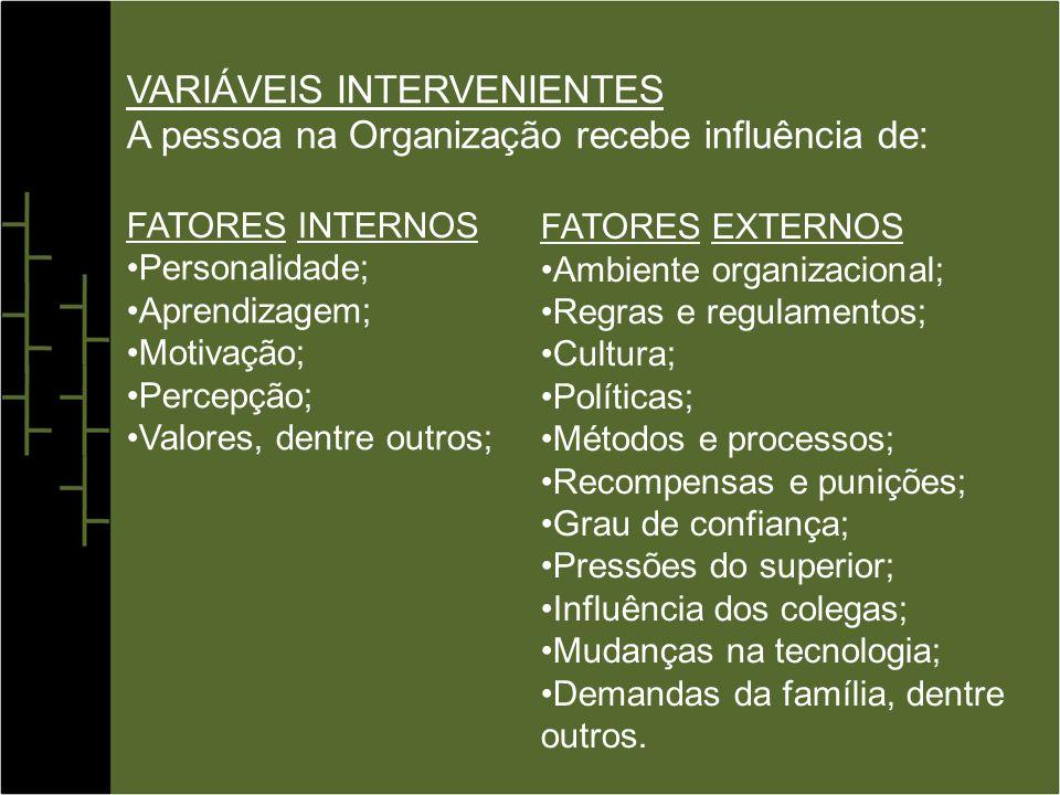 VARIÁVEIS INTERVENIENTES A pessoa na Organização recebe influência de: