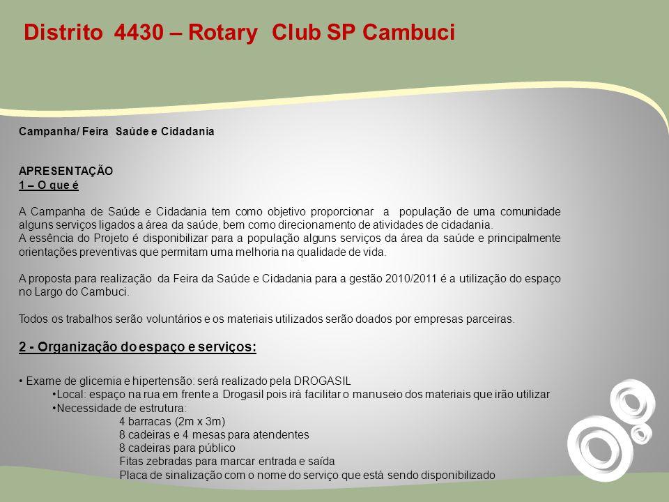 Distrito 4430 – Rotary Club SP Cambuci