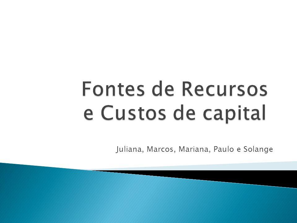 Fontes de Recursos e Custos de capital