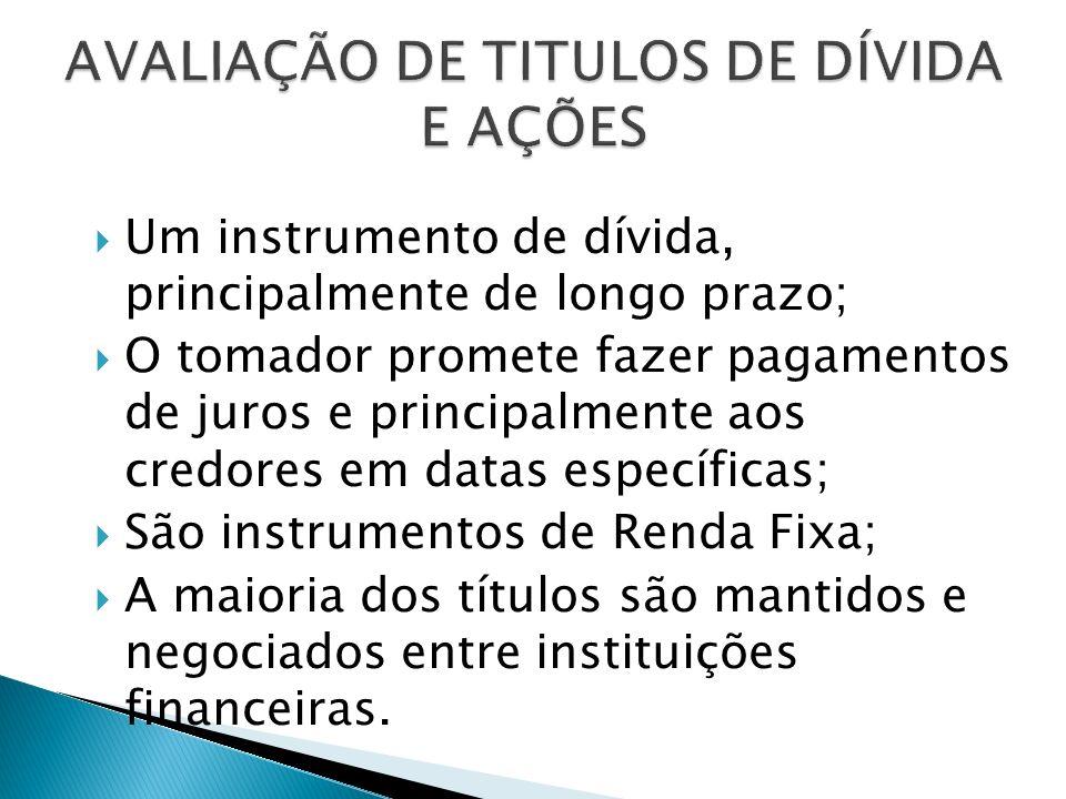 AVALIAÇÃO DE TITULOS DE DÍVIDA E AÇÕES