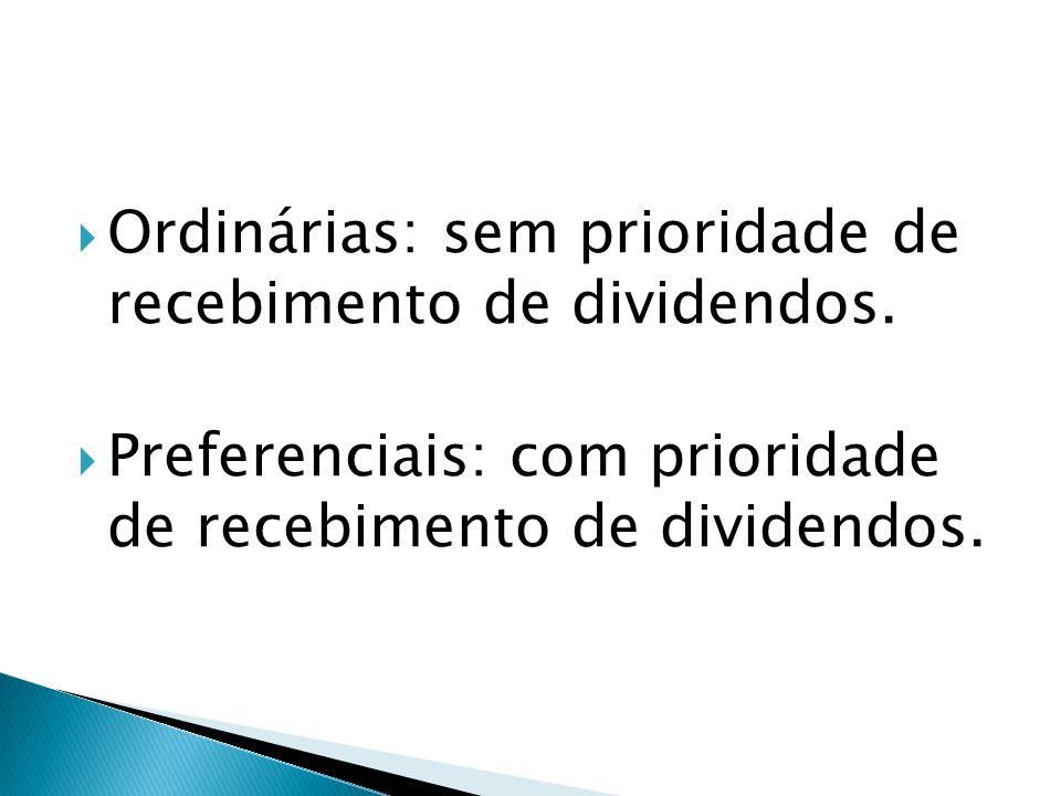 Ordinárias: sem prioridade de recebimento de dividendos.