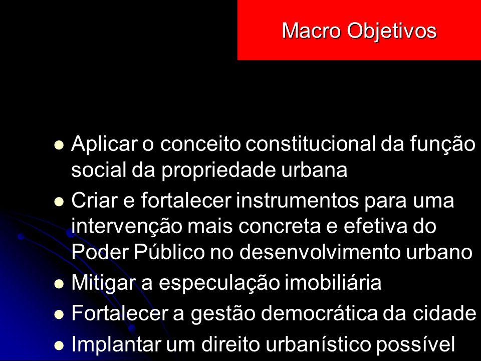 Macro Objetivos Aplicar o conceito constitucional da função social da propriedade urbana.