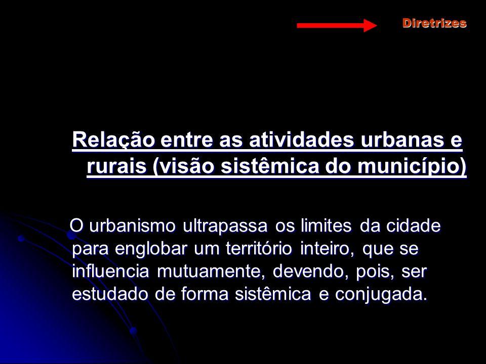 Diretrizes Relação entre as atividades urbanas e rurais (visão sistêmica do município)