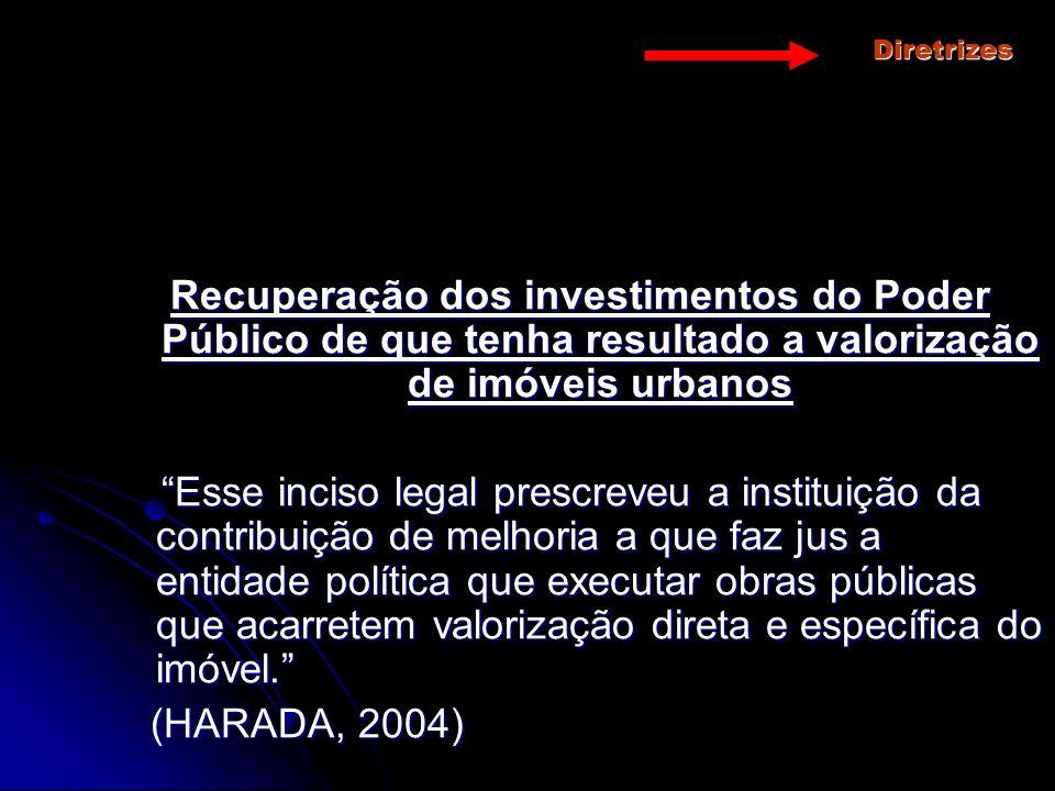 Diretrizes Recuperação dos investimentos do Poder Público de que tenha resultado a valorização de imóveis urbanos.