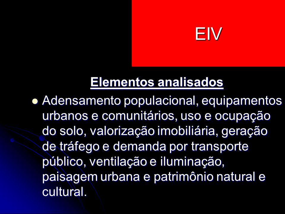 EIV Elementos analisados