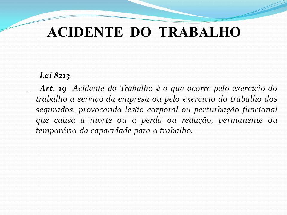 ACIDENTE DO TRABALHO Lei 8213