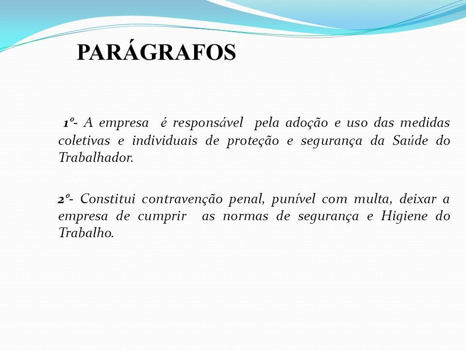 PARÁGRAFOS1º- A empresa é responsável pela adoção e uso das medidas coletivas e individuais de proteção e segurança da Saúde do Trabalhador.