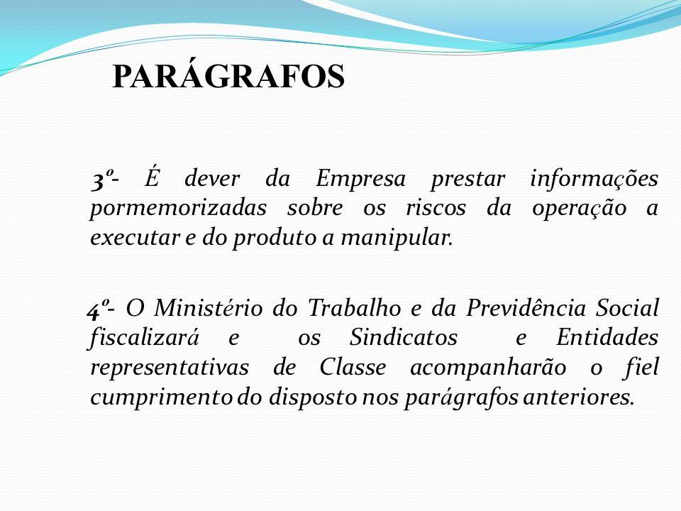 PARÁGRAFOS3º- É dever da Empresa prestar informações pormemorizadas sobre os riscos da operação a executar e do produto a manipular.