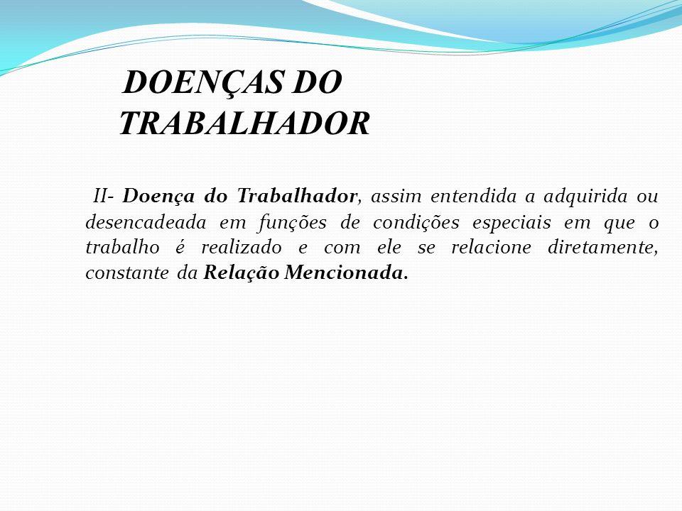 DOENÇAS DO TRABALHADOR