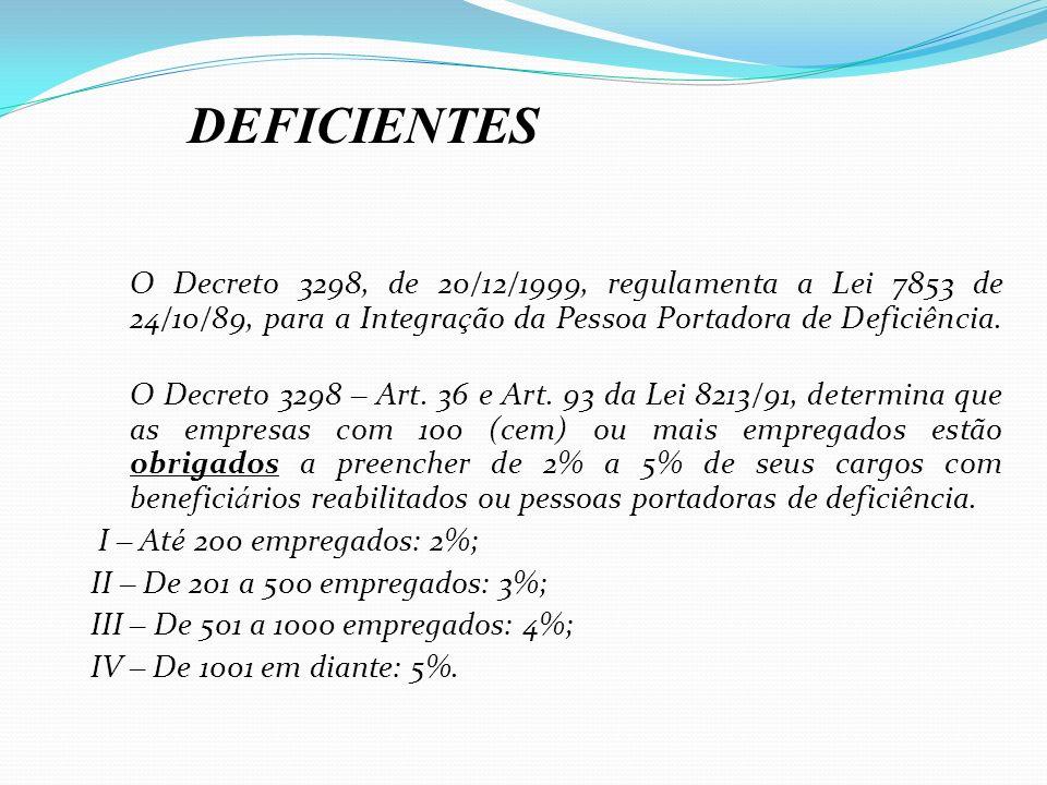DEFICIENTES O Decreto 3298, de 20/12/1999, regulamenta a Lei 7853 de 24/10/89, para a Integração da Pessoa Portadora de Deficiência.