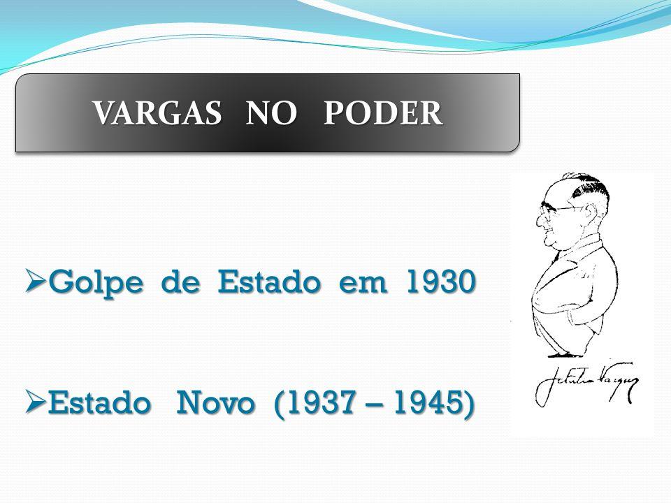 VARGAS NO PODER Golpe de Estado em 1930 Estado Novo (1937 – 1945)