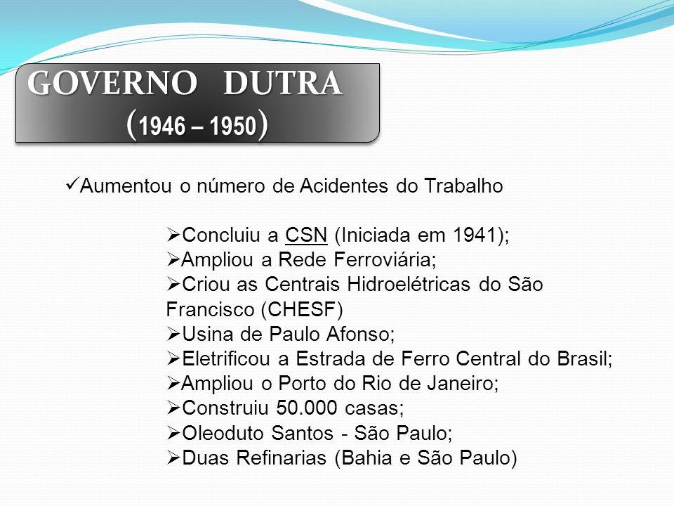 GOVERNO DUTRA (1946 – 1950) Aumentou o número de Acidentes do Trabalho