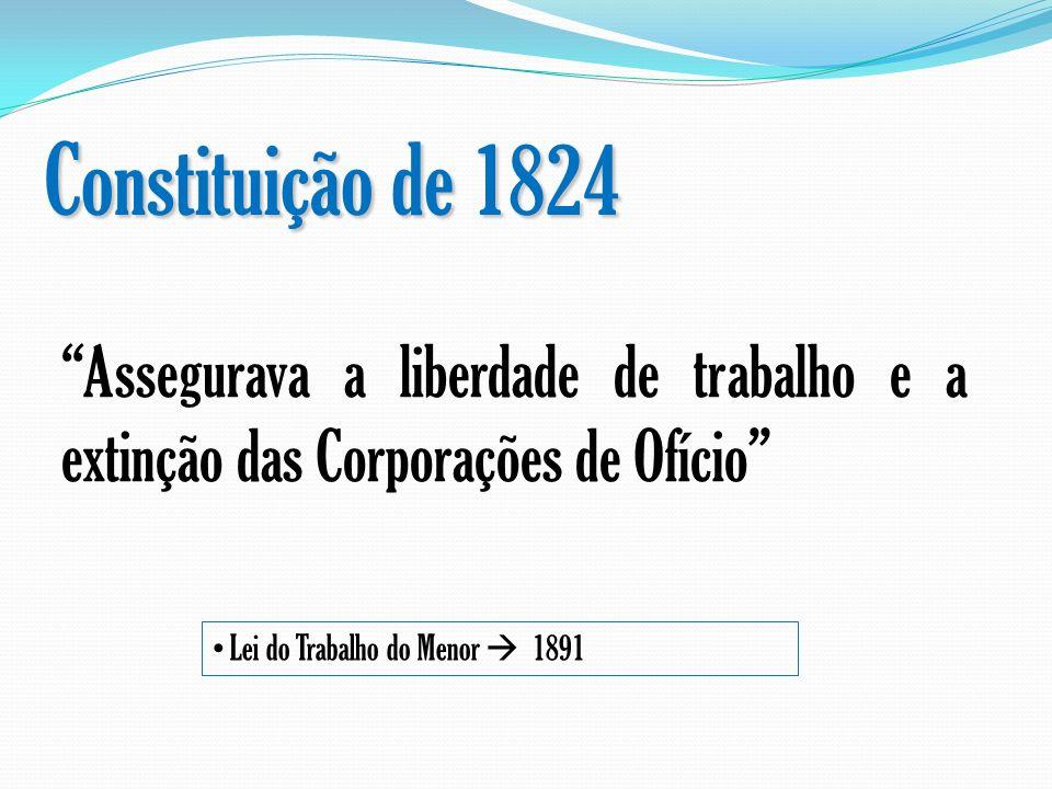 Constituição de 1824 Assegurava a liberdade de trabalho e a extinção das Corporações de Ofício Lei do Trabalho do Menor  1891.