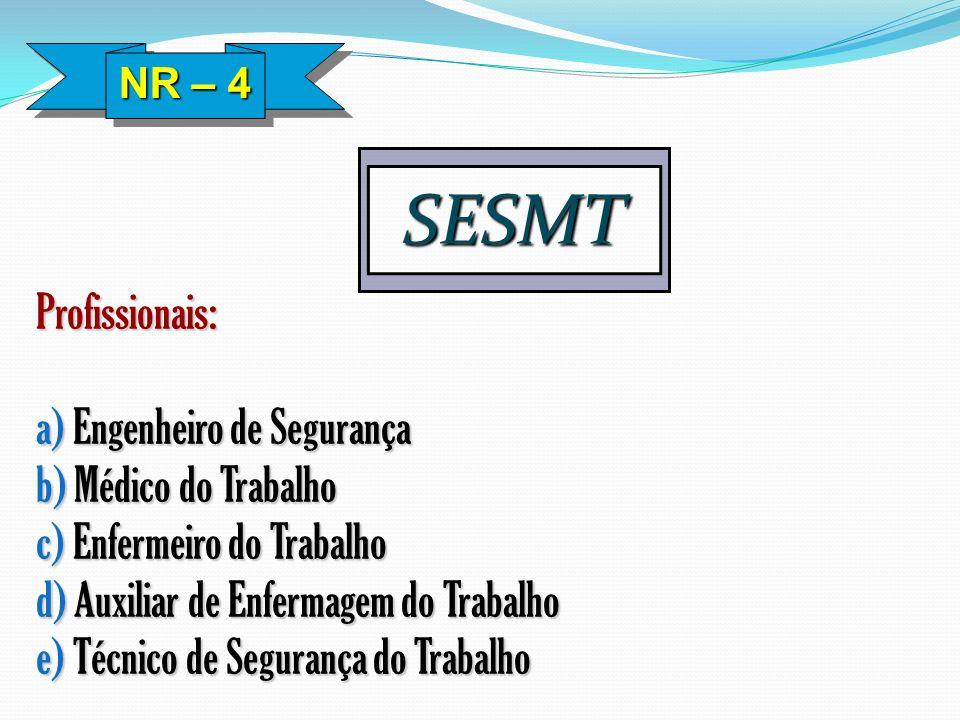 SESMT Profissionais: a) Engenheiro de Segurança b) Médico do Trabalho