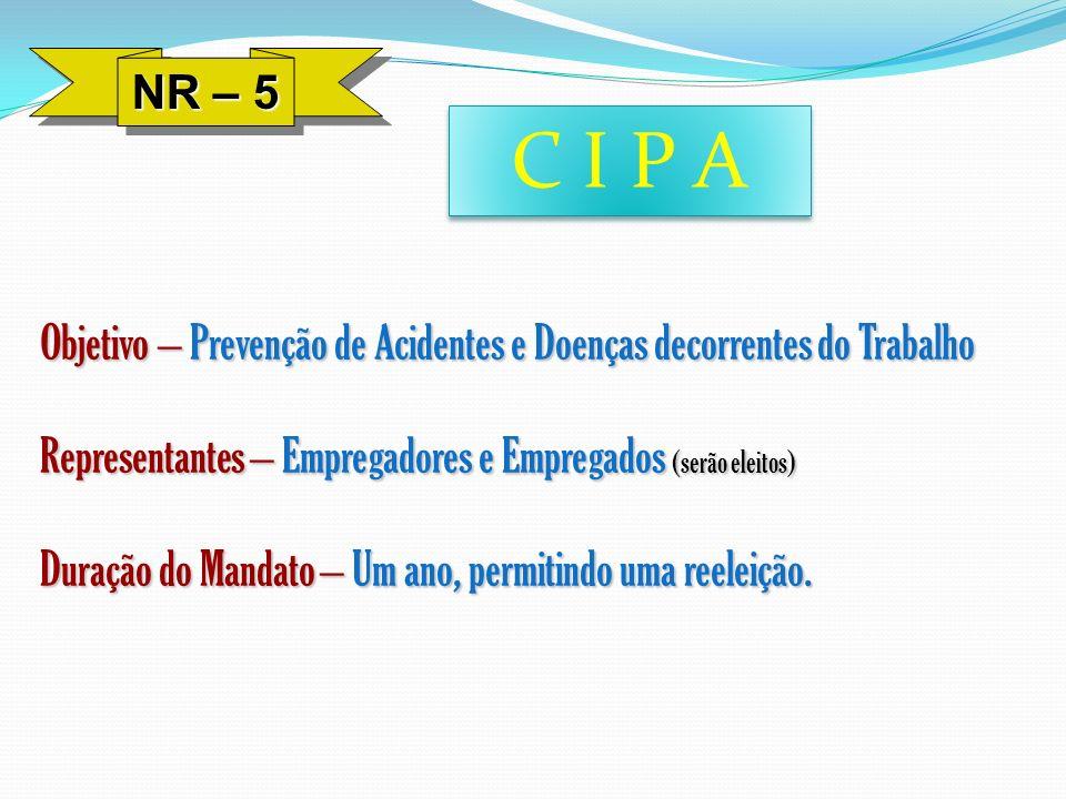 NR – 5C I P A. Objetivo – Prevenção de Acidentes e Doenças decorrentes do Trabalho. Representantes – Empregadores e Empregados (serão eleitos)
