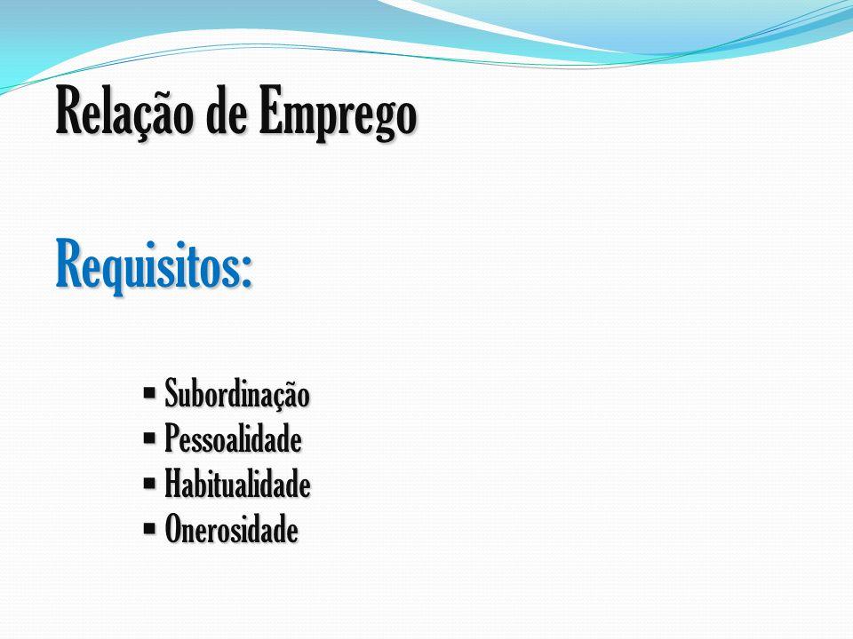 Relação de Emprego Requisitos: Subordinação Pessoalidade Habitualidade