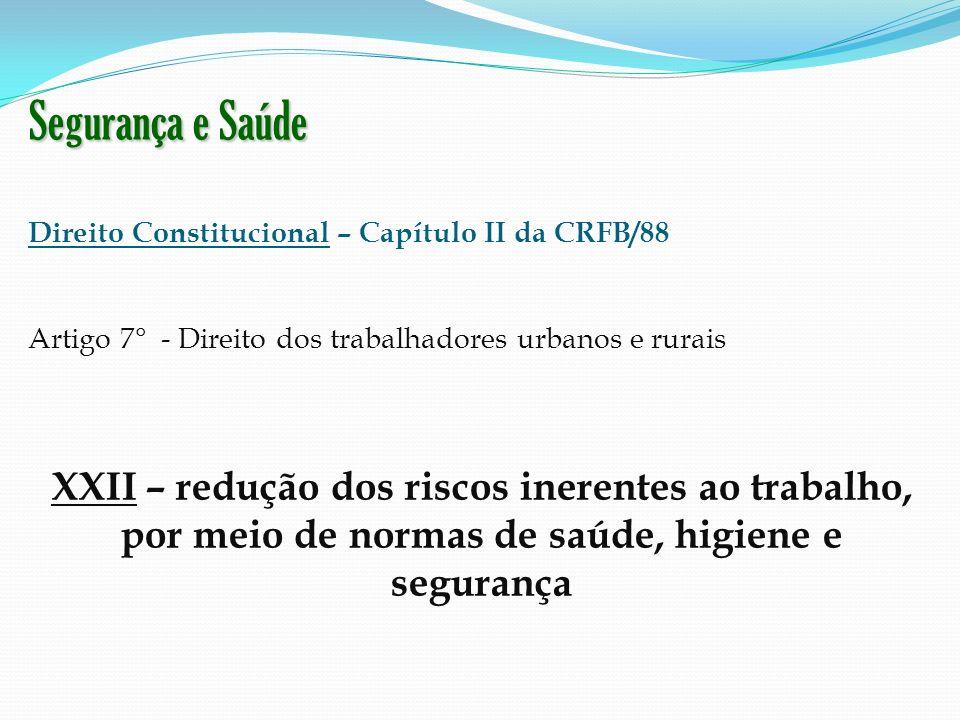 Segurança e Saúde Direito Constitucional – Capítulo II da CRFB/88. Artigo 7° - Direito dos trabalhadores urbanos e rurais.