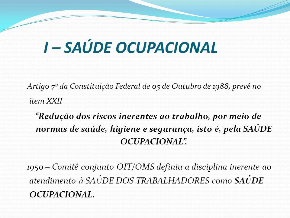 I – SAÚDE OCUPACIONALArtigo 7º da Constituição Federal de 05 de Outubro de 1988, prevê no item XXII.