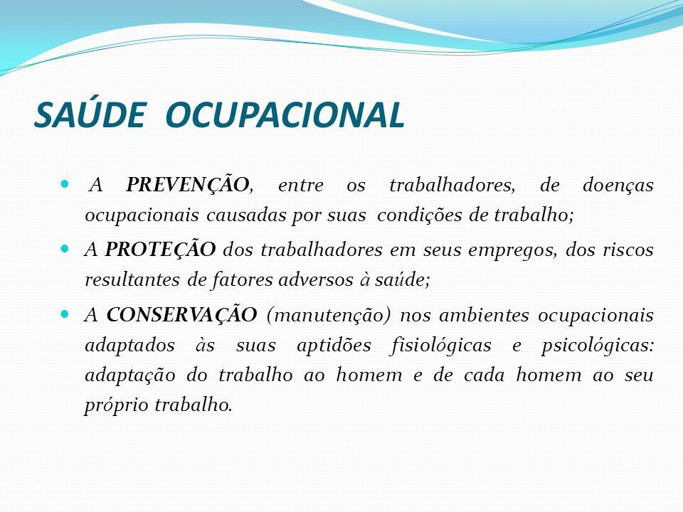 SAÚDE OCUPACIONAL A PREVENÇÃO, entre os trabalhadores, de doenças ocupacionais causadas por suas condições de trabalho;
