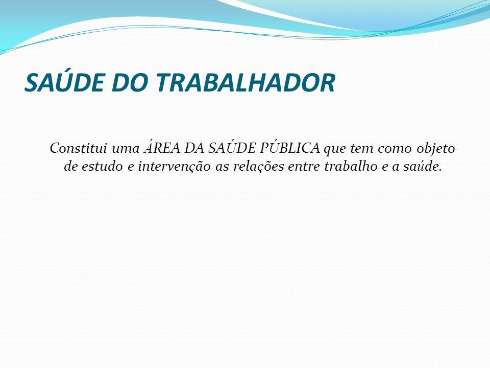 SAÚDE DO TRABALHADOR Constitui uma ÁREA DA SAÚDE PÚBLICA que tem como objeto de estudo e intervenção as relações entre trabalho e a saúde.