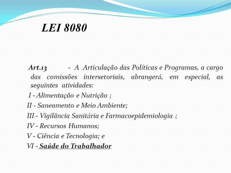LEI 8080 Art.13 - A Articulação das Políticas e Programas, a cargo das comissões intersetoriais, abrangerá, em especial, as seguintes atividades: