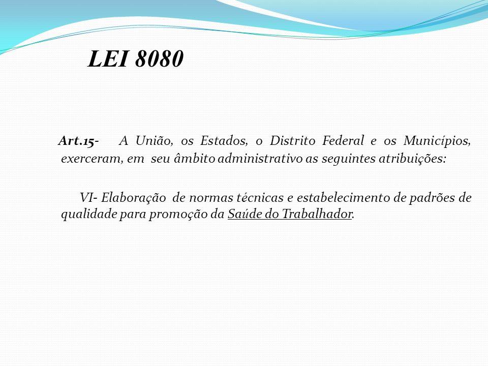 LEI 8080 Art.15- A União, os Estados, o Distrito Federal e os Municípios, exerceram, em seu âmbito administrativo as seguintes atribuições: