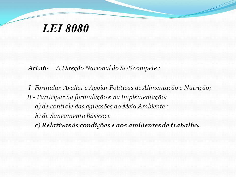 Art.16- A Direção Nacional do SUS compete :