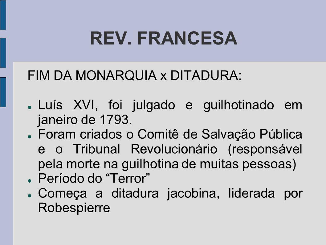 REV. FRANCESA FIM DA MONARQUIA x DITADURA: