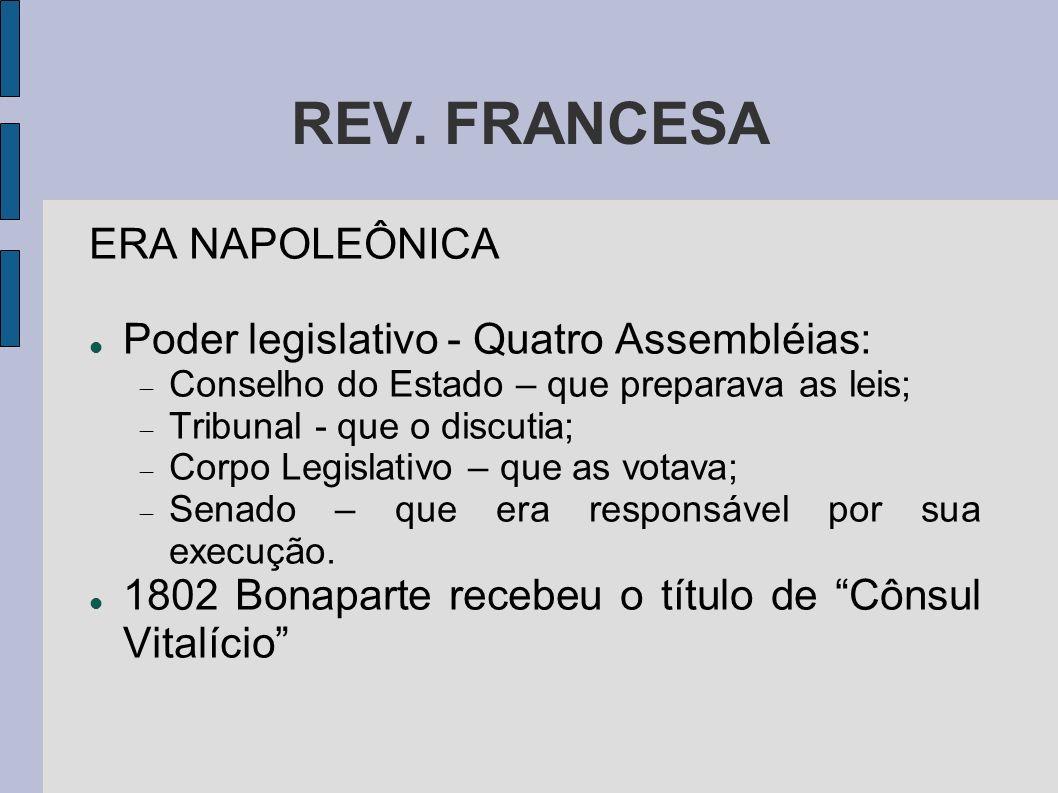 REV. FRANCESA ERA NAPOLEÔNICA Poder legislativo - Quatro Assembléias: