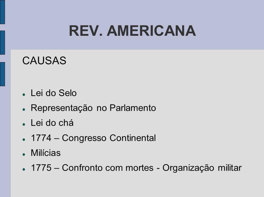 REV. AMERICANA CAUSAS Lei do Selo Representação no Parlamento
