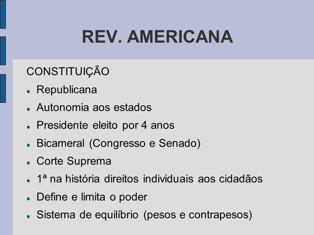 REV. AMERICANA CONSTITUIÇÃO Republicana Autonomia aos estados