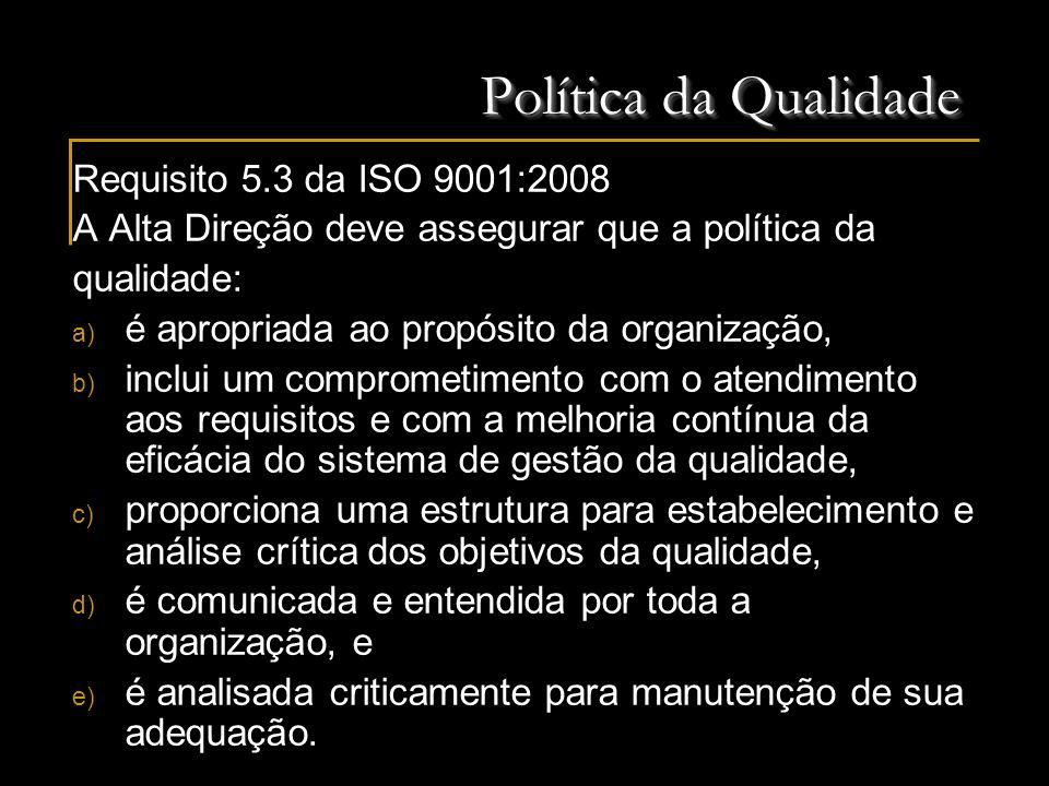 Política da Qualidade Requisito 5.3 da ISO 9001:2008