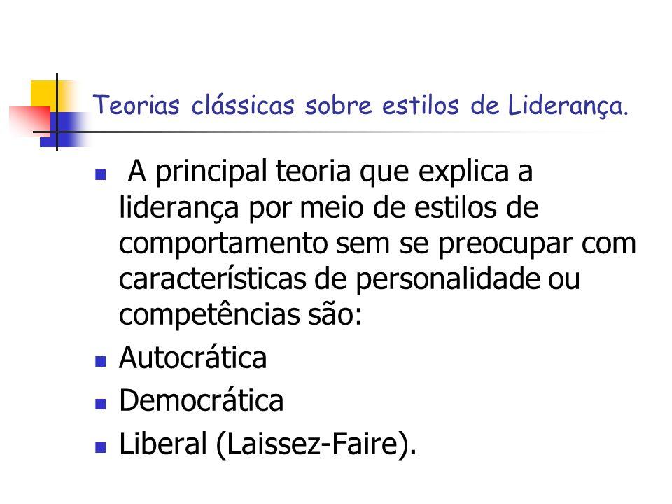 Teorias clássicas sobre estilos de Liderança.