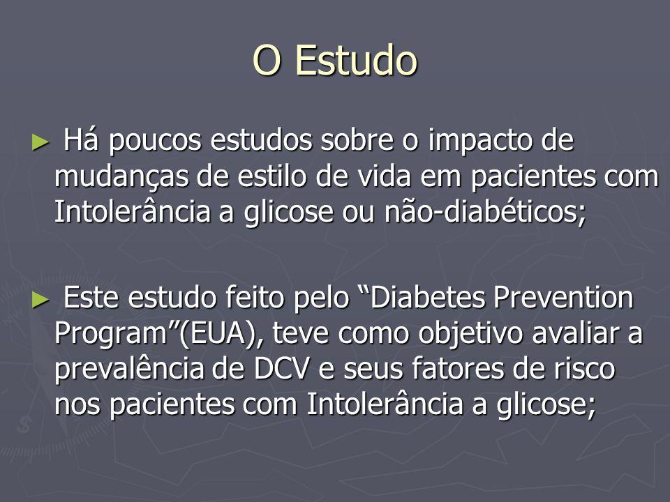 O Estudo Há poucos estudos sobre o impacto de mudanças de estilo de vida em pacientes com Intolerância a glicose ou não-diabéticos;