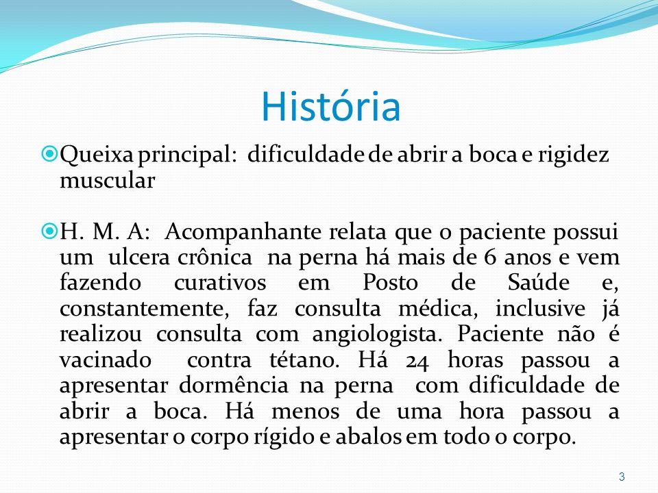 História Queixa principal: dificuldade de abrir a boca e rigidez muscular.