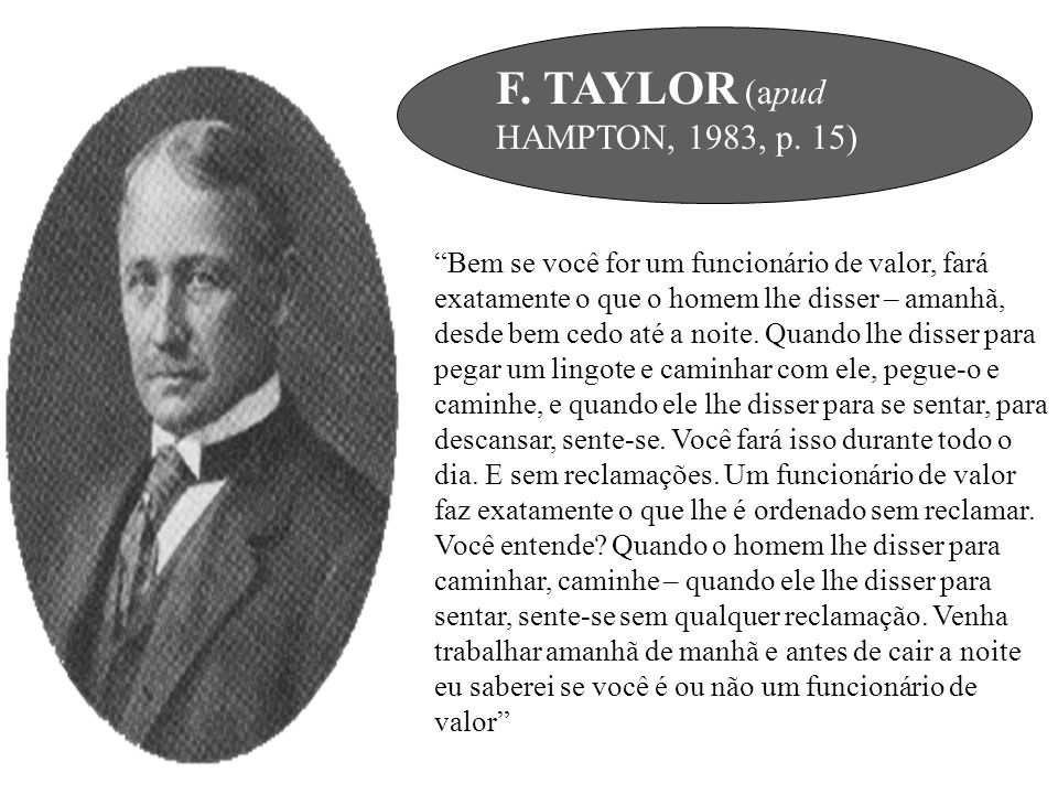 F. TAYLOR (apud HAMPTON, 1983, p. 15)